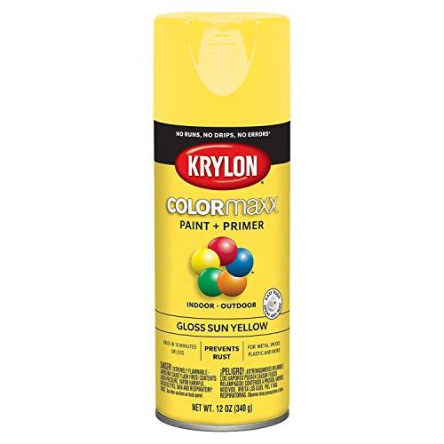 Krylon K05541007 COLORmaxx Spray Paint, Aerosol, Sun Yellow