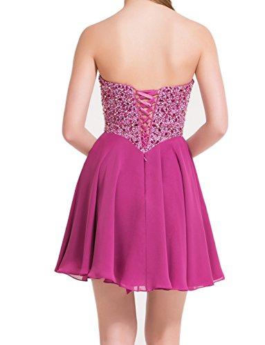 Mini Attraktive Promkleider Kurz Perlen Pink Chiffon Partykleider Charmant Tanzenkleider Damen Cocktailkleider 78RqaxUU6