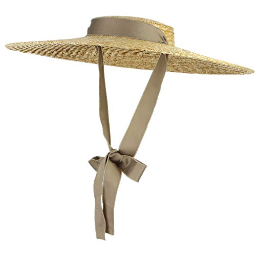 (Jelord Women Vintage Boater Straw Hat Wide Brim Flat Top Floppy Derby Straw Hat Beach Sun Hats with Chin Strap Brim:15cm Khaki)