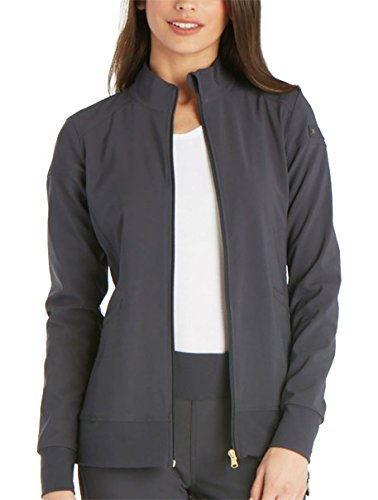 (Cherokee iFlex CK303 Zip Front Warm-Up Jacket Pewter XL)