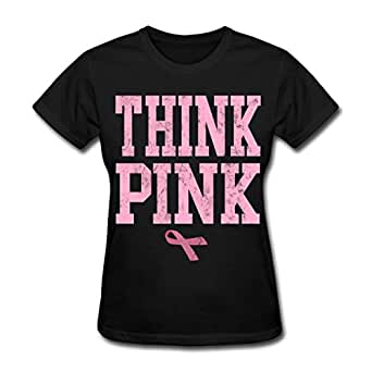 Think Pink Breast Cancer Women's T-Shirt by Spreadshirt, S, black