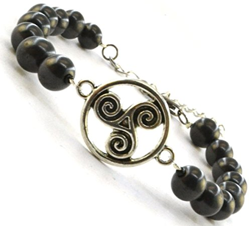 Shungite Bracelet with Vintage Connectors (Celtic Double Spirals 7 - 7.5