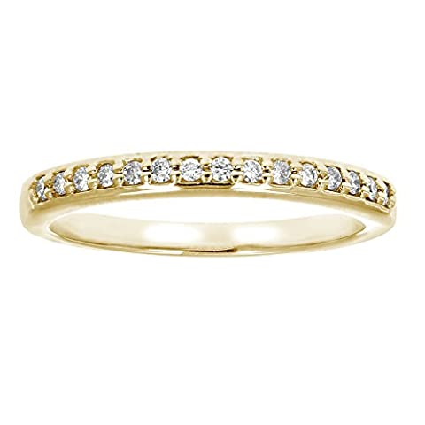 1/8 ctw Petite Diamond Wedding Band in 10K Yellow Gold In Size 5 (10k Gold Ring Size 5)