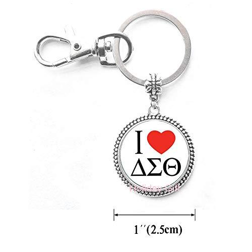 (New Fashion Jewelry Greek Greece Sorority Fraternity Organization Delta Sigma Theta Symbol Series Glass Cabochon Keychain.HTY-171)