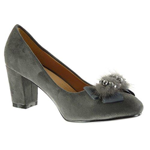 Angkorly - Scarpe da Moda scarpe decollete donna papillon pon pon strass Tacco a blocco tacco alto 7 CM - Grigio