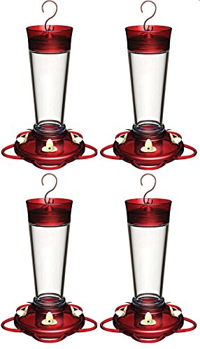 Cheap (4 Pack) More Birds Hummingbird Feeder With 5 Feeding Stations, Ruby Glass Hummingbird Feeder, 10-Ounce Hummingbird Nectar Capacity