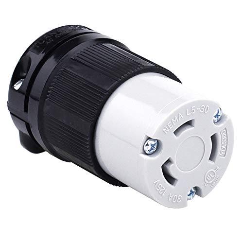 Cllena NEMA L5-30 Female Plug, 2 Pole 3 Wire, 30 Amp 125 Volt, 3 Prong Generator Twist Locking Plug Connector -