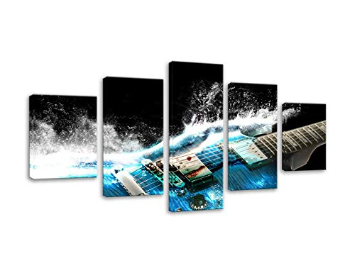 (AMEMNY 5 Panel Guitar in Blue and Waves Looks Beautiful Wall Art Painting The Guitar Music Picture Print On Canvas Music Pictures for Home Decor Decoration Framed Ready to Hang)