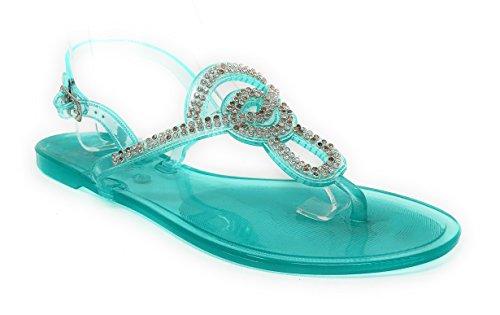- Pink Crush Women's Slingback Strap Rhinestone Embellished Thong Jelly Flat Sandals in Mint Size: 7
