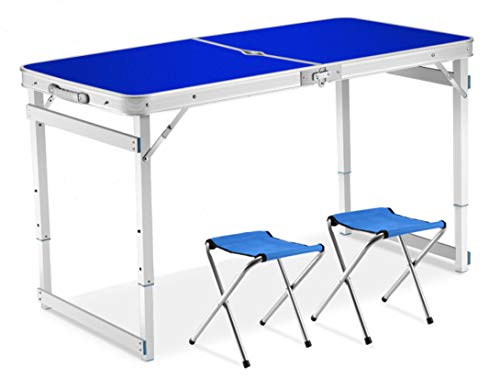 Littlefun Folding Adjustable Height Table Aluminum for Portable Camping Picnic Family Party with 2 Chairs ()