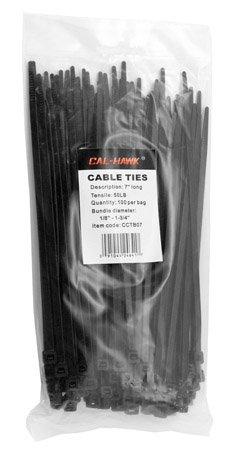 Cal Hawk Tools CCTB07 Cal Hawk Tools CCTB07 100 Pieces 7 Black Zip Cable Ties