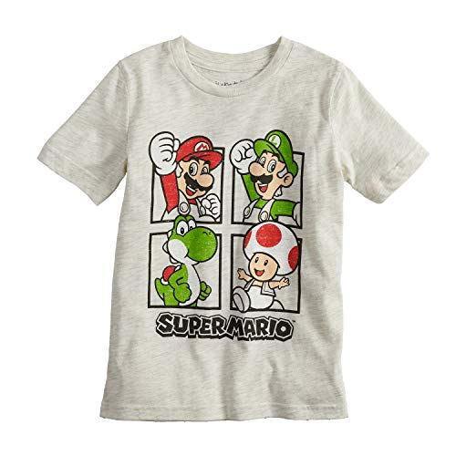 - Jumping Beans Boys 4-10 Nintendo Super Mario Bros. Grid Graphic Tee 6 Oatmeal Heather