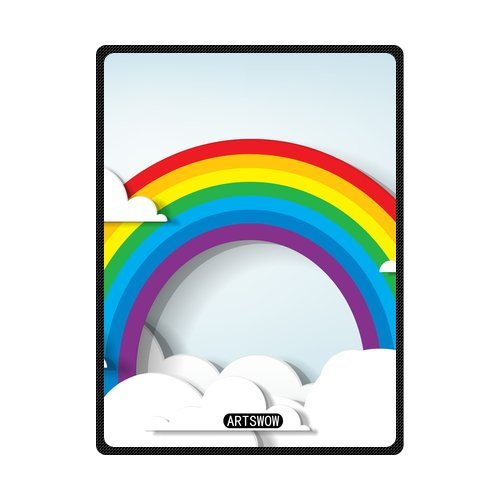 ARTSWOW Rainbow And Clouds Custom Fleece Throw Blanket Indoo
