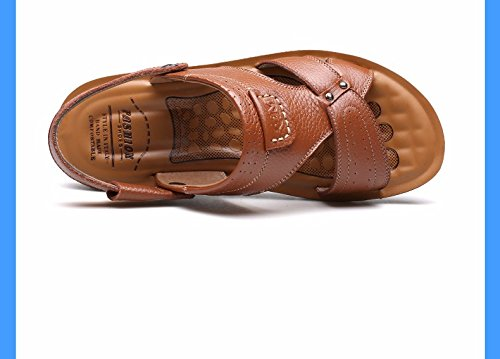 estate Uomini sandali vera pelle Taglia larga Spiaggia scarpa Uomini Tempo libero pelle sandali tendenza ,giallo,US=8,UK=7.5,EU=41 1/3,CN=42