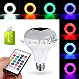 E27 12W RGBW USB Bluetooth LED Light Bulb Smart Music Play Lamp +24Keys Remote Control
