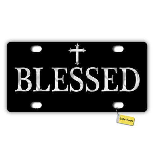 Tobe Yours License Plate Cover Blessed Cross Christian Black Printed Auto Truck Car Motorcycle Front Tag Metal License Plate Cover Frame Cover 6