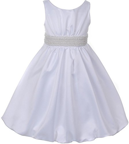Little Girls Pearl Bubble Pick Up Communion Flowers Girls Dresses White 4