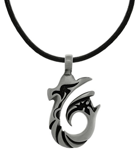 - Jewelry Trends Pewter Tribal Wave Hook Pendant on Black Leather Necklace