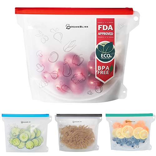 HomeBliss Platimum Reusable Silicone Food Bag 4 Pack Airtight Leak-proof Zip-lock Bag Snack bags for Sandwich Fruits Meat Freezer FDA & SGS Approved Reusable Bags 1000ml 30oz