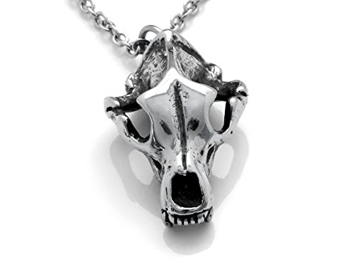 Polished Bear Pendant (Grizzly Bear Skull Necklace in Pewter, Animal Cranium Pendant in Polished Metal)
