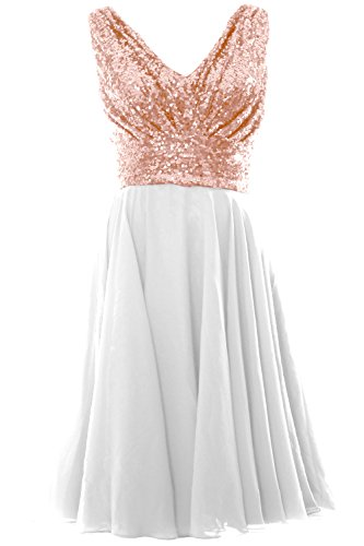 MACloth V Ivory Chiffon Rose Wedding Women Gold Party Sequin Short Neck Dress Bridesmaid Gown HHwFRrq