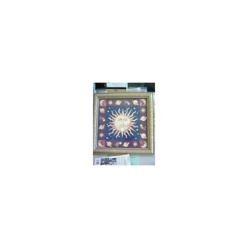 Celestial Sun picture Zodiac themed Framed wall decor Signed art Glass encased