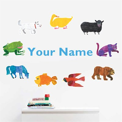 Oliver's Labels Personalized Brown Bear Kids Name Wall Decal: Home & Kitchen