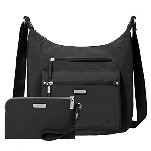 Baggallini Day Trip Everyday Hobo Handbag, RFID Wristlet, Large Cross Body Convertble (Black)