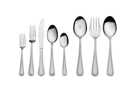 - International Silver 5137847 Pearl 87-Piece Stainless Steel Flatware Set with Serving Utensil Set, Service for 12