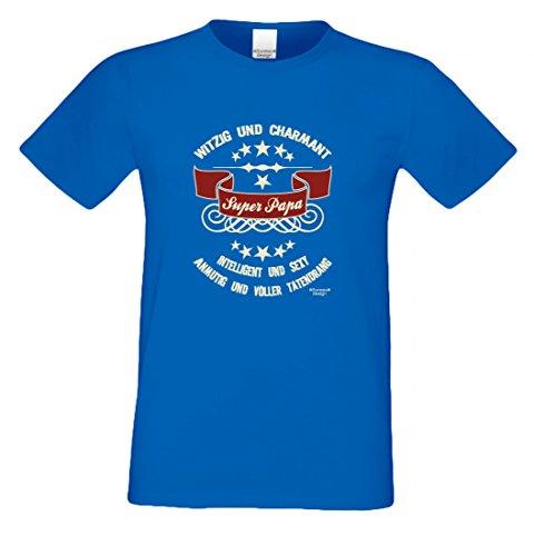 T-Shirt als Geschenk für den Vater - Intelligent und Sexy - Ein Danke für den Super Papa mit Humor zum Vatertag oder einfach so, Größe S Farbe 06-Royalblau