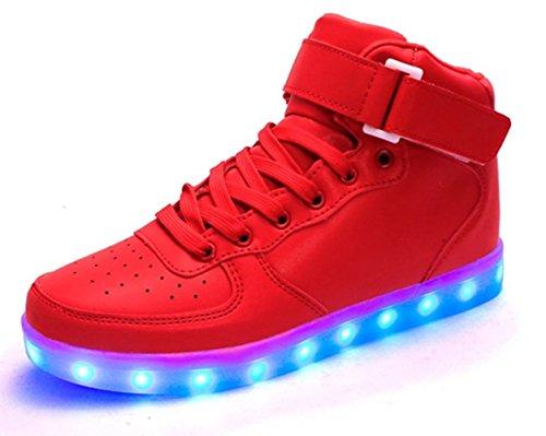 Kaleido Shinynight Usb Opladen 11 Kleuren Led Oplichten Schoenen Mode Sneakers Sportschoenen Voor Heren Dames Meisjes Jongens H-rood