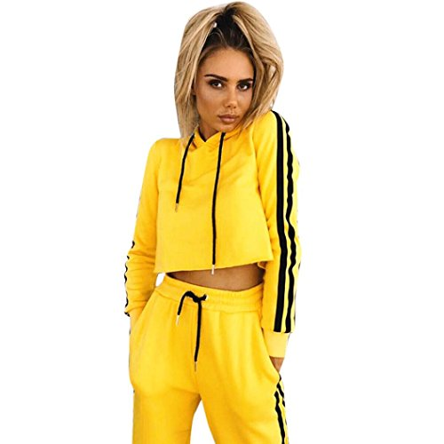 Belted Two Piece (Clearance! Women Sportwear, Among Spring Summer Two-Piece Outfit Long Sleeve Sweatshirt Hoodie Loose Blouse +Long Pants (M, Yellow))