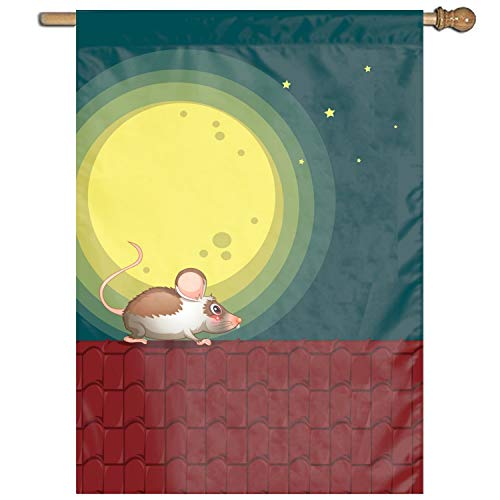 Dolores Joule Home Decorative Outdoor 1 Sided A Rat at The Rooftop Garden Flag ()