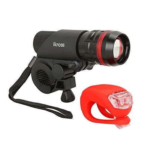 Bike Light Ikross Bright Led Bicycle Head Flash Light Powered By 3 Aaa Batteries With Tail Light