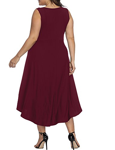 Wine Dresses Pleated Size Allegrace Dress Cocktail Sleeveless Plus Party Casual Red Long Women 4FvqawTP