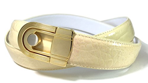 EDNA Bonded Leather Baby Crocodile Skin Print Dress Belt Beige