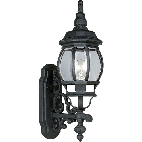 - Progress Lighting P5878-31 1-Light Wall Lantern with Clear Beveled Glass, Textured Black