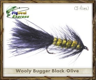Fly Fishing Flies - WOOLYBUGGER BLACK/OLIVE - Streamer (3-pack) Olive Streamer