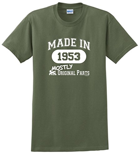 65th Birthday Party Supplies 65th Birthday Gifts Made 1953 Mostly Original Parts T-Shirt Large MlGrn