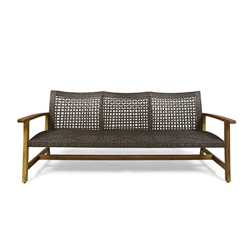 Great Deal Furniture Marcia Outdoor Wood and Wicker Sofa, Natural Finish with Mix Mocha Wicker ()