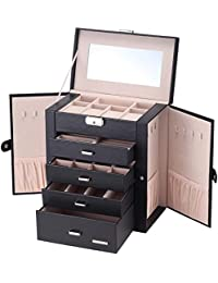Synthetic Leather Huge Jewelry Box Mirrored Watch Organizer Necklace Ring Earring Storage Lockable Gift Case(Black)