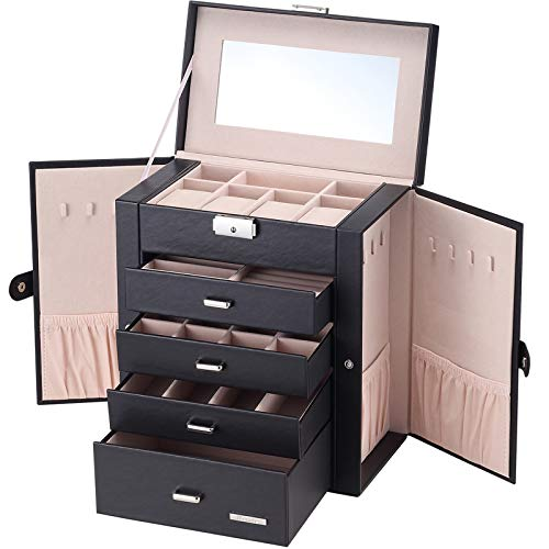 - Homde Synthetic Leather Huge Jewelry Box Mirrored Watch Organizer Necklace Ring Earring Storage Lockable Gift Case (Black)