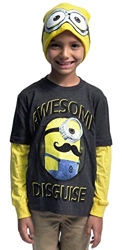 [Minions Boys T-shirt & Beanie Hat 2pc Set Long Sleeves Awesome Disguise (Small)] (Crazy Christmas Hats)