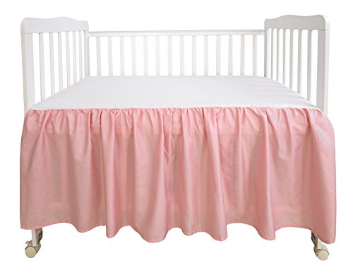 "PHF Crib Bed Skirt 100% Cotton Pack of 2 Pink Dust Ruffle Nursery Crib Bedding for Baby 17"" Drop"