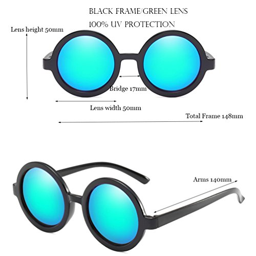 Armear Vintage Round Sunglasses for Women Men Mirrored Lens UV Protection Green