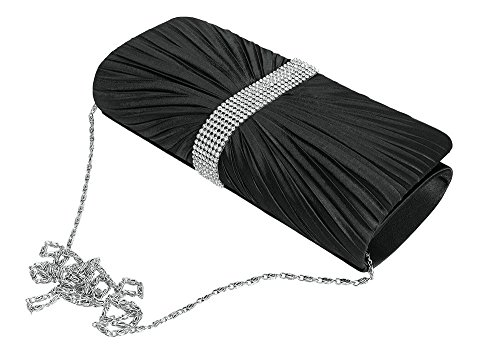 Envelope Clutch Ladies Pleated Satin Miss Bag Party Lulu Black Wedding New Evening Prom Hand wgqnx6SCA