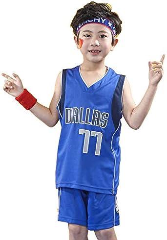 Doncic#77 Camiseta de Baloncesto para Niño y niña - NBA Dallas Mavericks, para niños Top sin Mangas + Shorts: Amazon.es: Ropa y accesorios