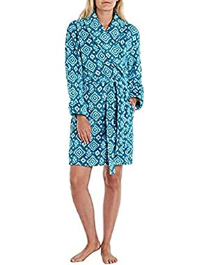 Ladies Plush Short Bath Robe Teal Print