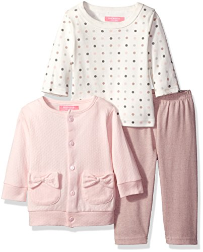 Isaac Mizrahi Baby Girls' 3pc Button Front Cardigan, Longsleeve Top and Legging Set, Rosa (Pink Polka Dots)