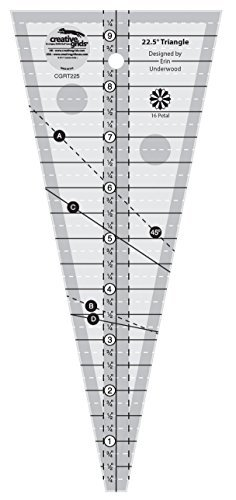 Creative Grids 22.5 Degree 9.5'' Triangle Quilting Ruler Template CGRT225 by Creative Grids